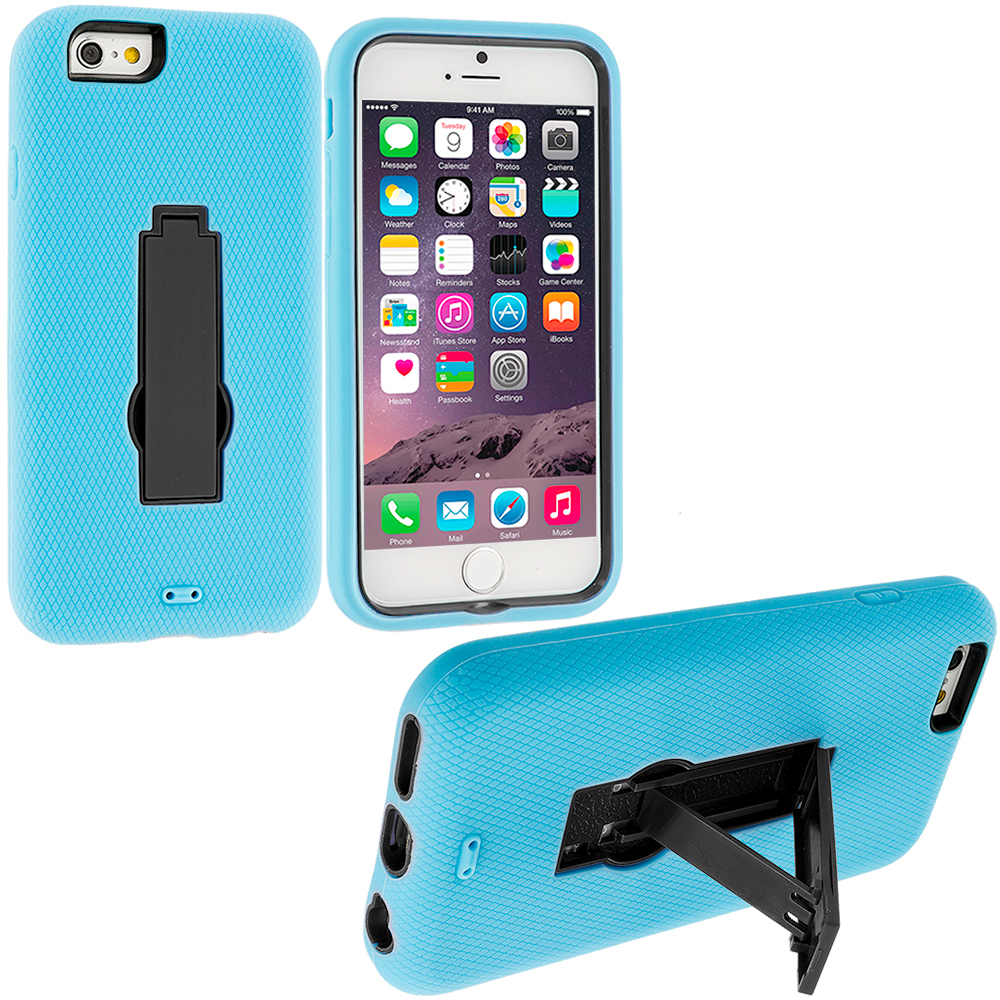 Apple iPhone 6 Plus 6S Plus (5.5) Baby Blue / Black Hybrid Heavy Duty Hard Soft Case Cover with Kickstand