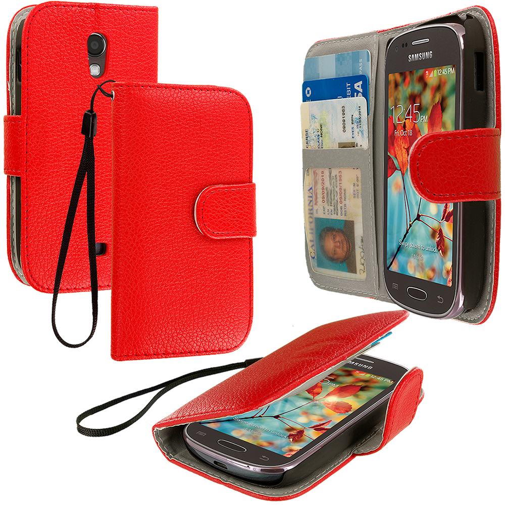 Samsung Galaxy Light T399 Red Leather Wallet Pouch Case Cover with Slots