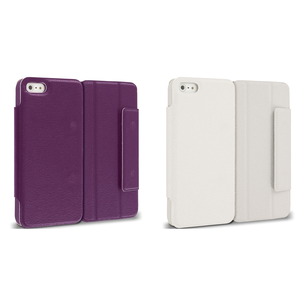 Apple iPhone 5/5S/SE Combo Pack : Purple Tri-Fold Leather Wallet Case Cover Pouch