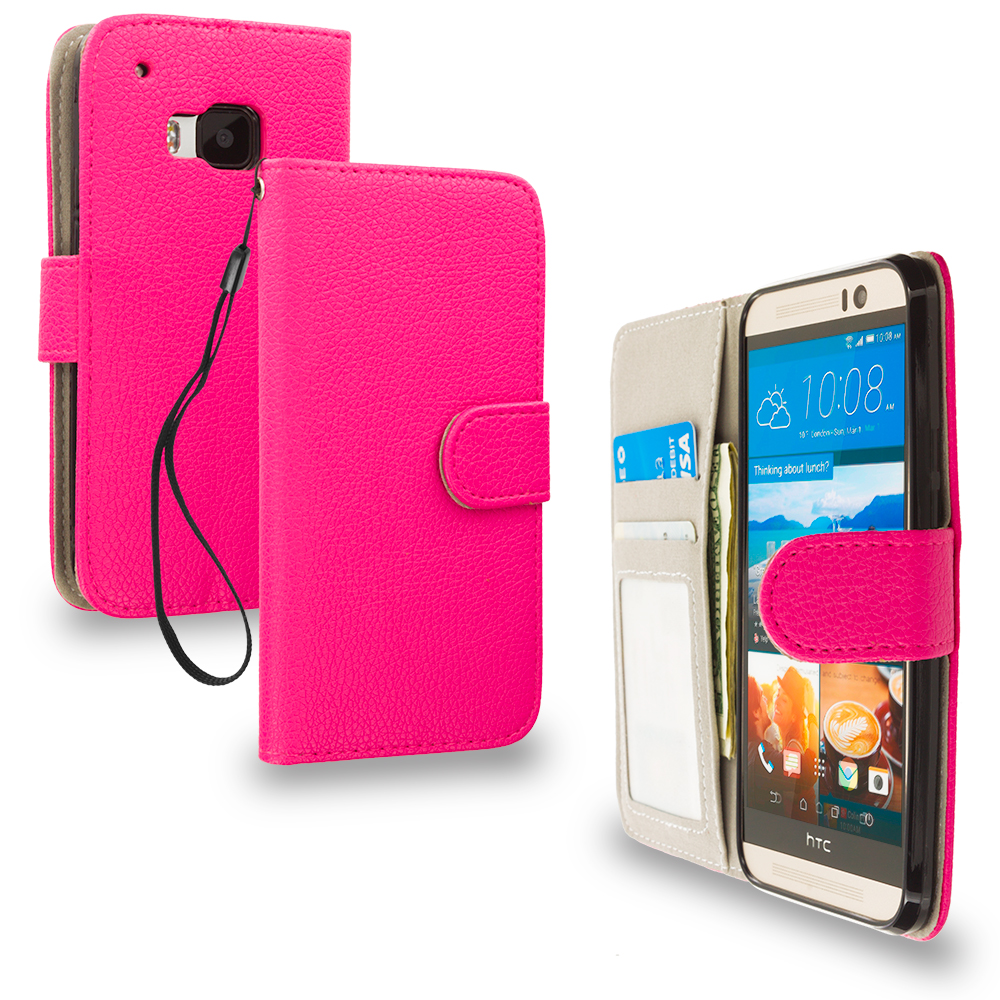 HTC One M9 Hot Pink Leather Wallet Pouch Case Cover with Slots