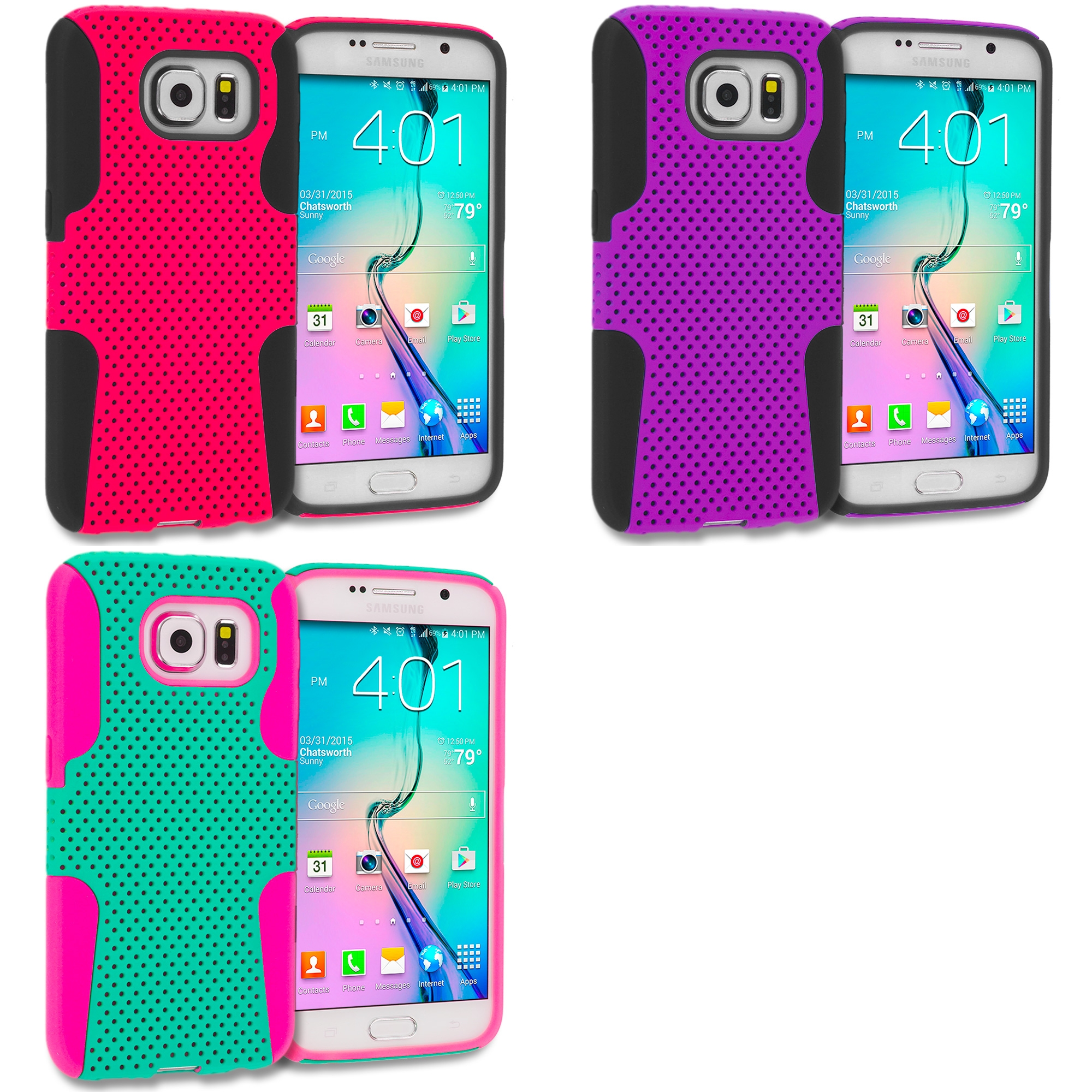 Samsung Galaxy S6 3 in 1 Combo Bundle Pack - Hybrid Mesh Hard/Soft Case Cover