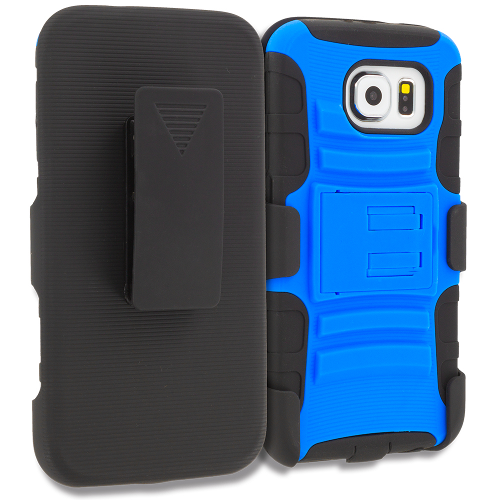 Samsung Galaxy S6 4 in 1 Combo Bundle Pack - Hybrid Heavy Duty Rugged Case Cover with Belt Clip Holster : Color Blue Black