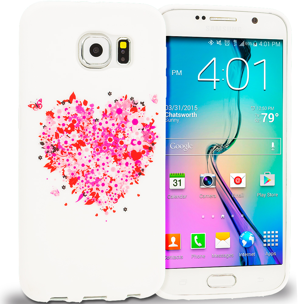 Samsung Galaxy S6 Hearts Full of Flowers on White TPU Design Soft Rubber Case Cover