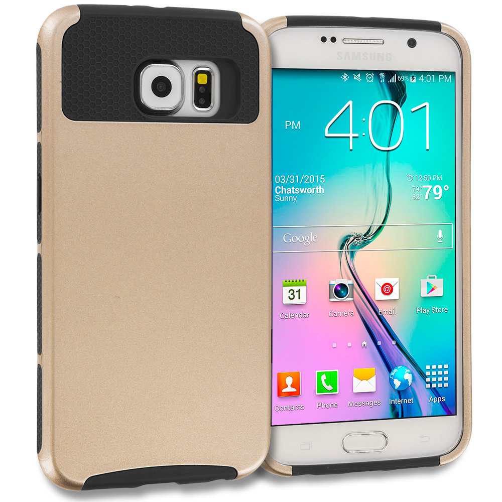 Samsung Galaxy S6 Edge Gold / Black Hybrid Hard TPU Honeycomb Rugged Case Cover