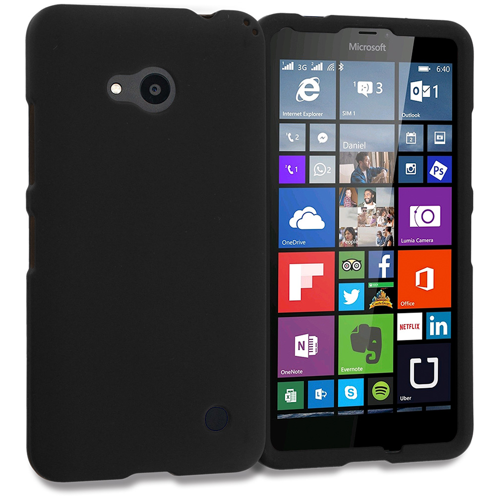 Microsoft Lumia 640 Black Hard Rubberized Case Cover