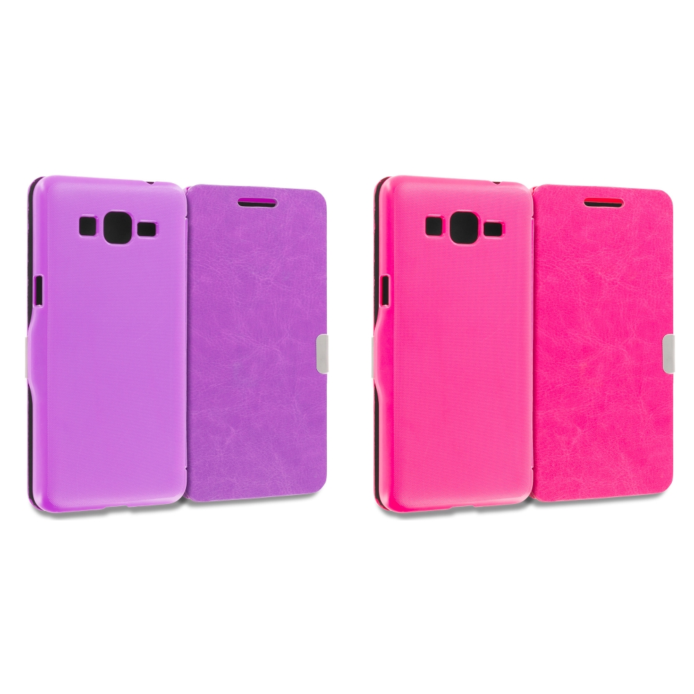 Samsung Galaxy Grand Prime LTE G530 2 in 1 Combo Bundle Pack - Purple Pink Magnetic Flip Wallet Case Pouch