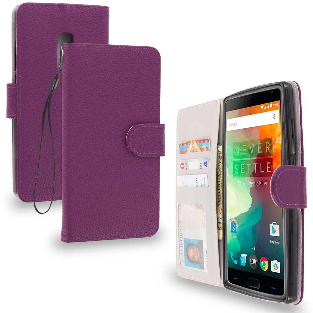 OnePlus 2 Two Purple Leather Wallet Pouch Case Cover with Slots