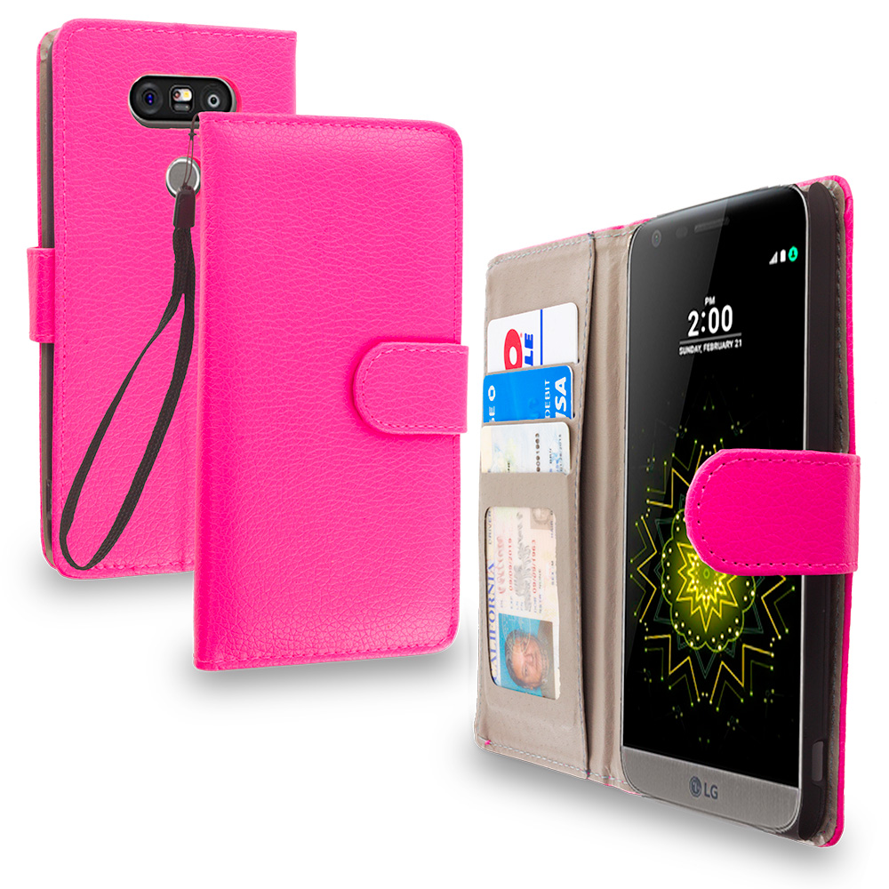 LG G5 Hot Pink Leather Wallet Pouch Case Cover with Slots