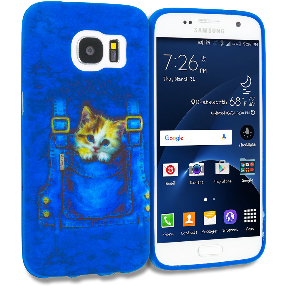 Samsung Galaxy S7 Combo Pack : Horse TPU Design Soft Rubber Case Cover : Color Kitty Cat Jeans