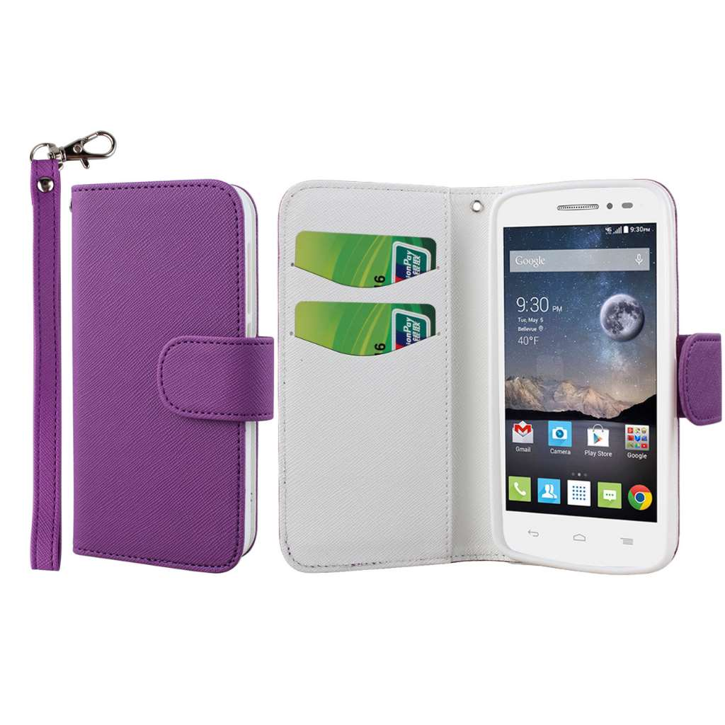 Alcatel OneTouch POP Astro - Purple MPERO FLEX FLIP Wallet Case Cover