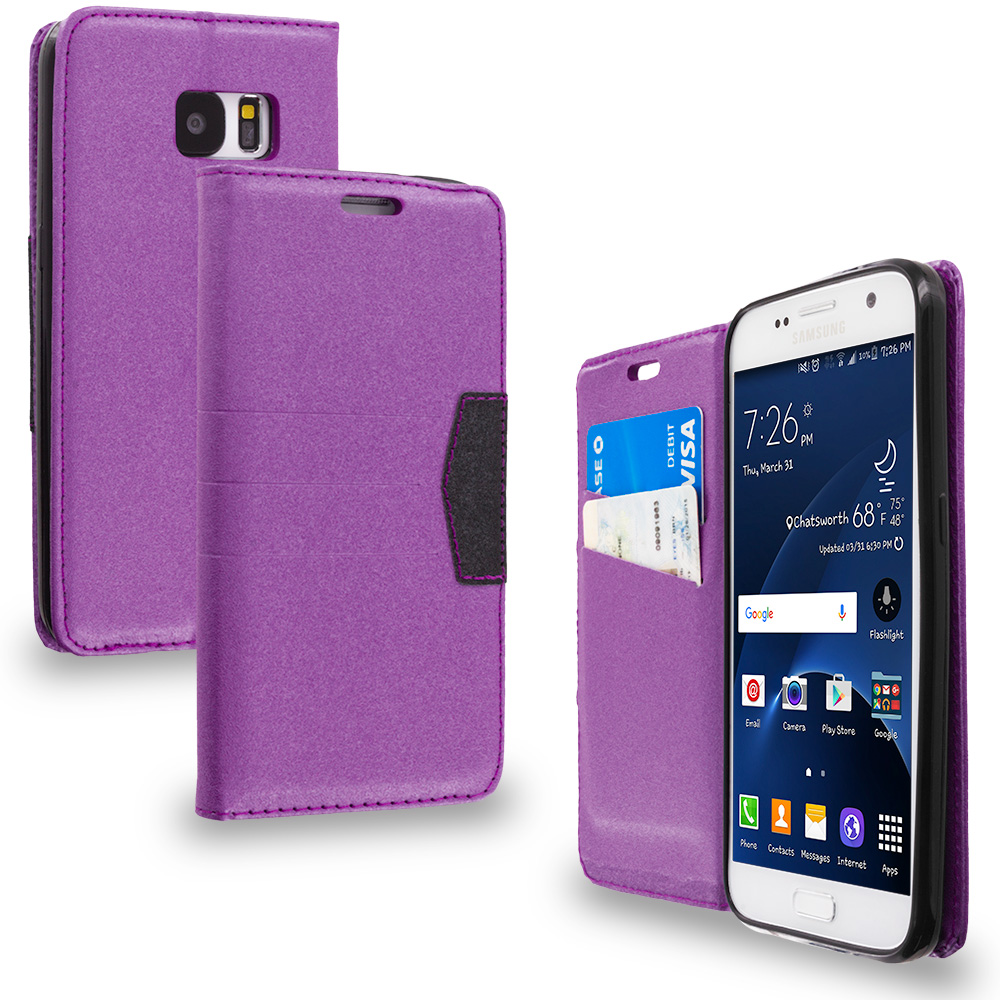 Samsung Galaxy S7 Combo Pack : Hot Pink Wallet Flip Leather Pouch Case Cover with ID Card Slots : Color Purple
