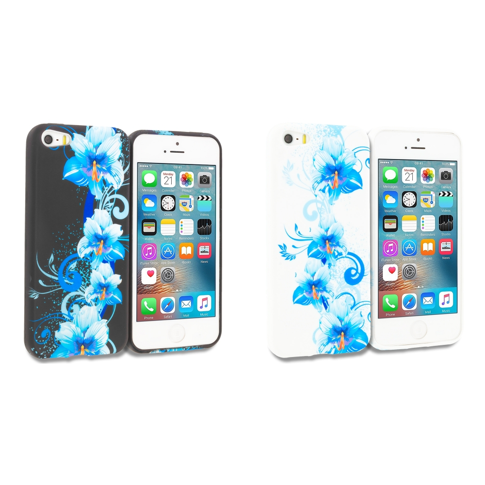 Apple iPhone 5/5S/SE Combo Pack : Blue Flowers TPU Design Soft Rubber Case Cover