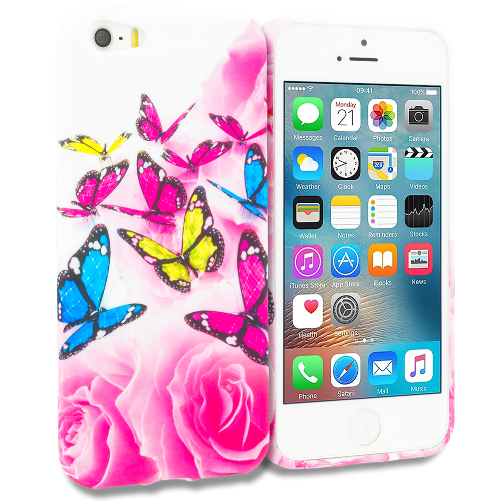 Apple iPhone 5/5S/SE Combo Pack : Pink Colorful Butterfly TPU Design Soft Rubber Case Cover : Color Pink Colorful Butterfly