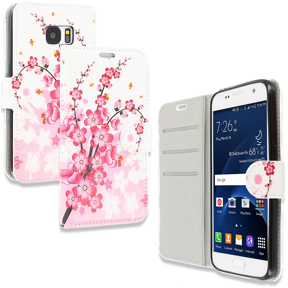 Samsung Galaxy S7 Combo Pack : Pink Colorful Butterfly Design Wallet Flip Pouch Case Cover with Credit Card ID Slots : Color Spring Flower