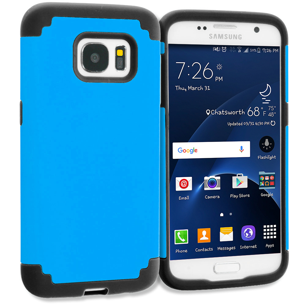 Samsung Galaxy S7 Combo Pack : Black / Black Hybrid Slim Hard Soft Rubber Impact Protector Case Cover : Color Blue / Black