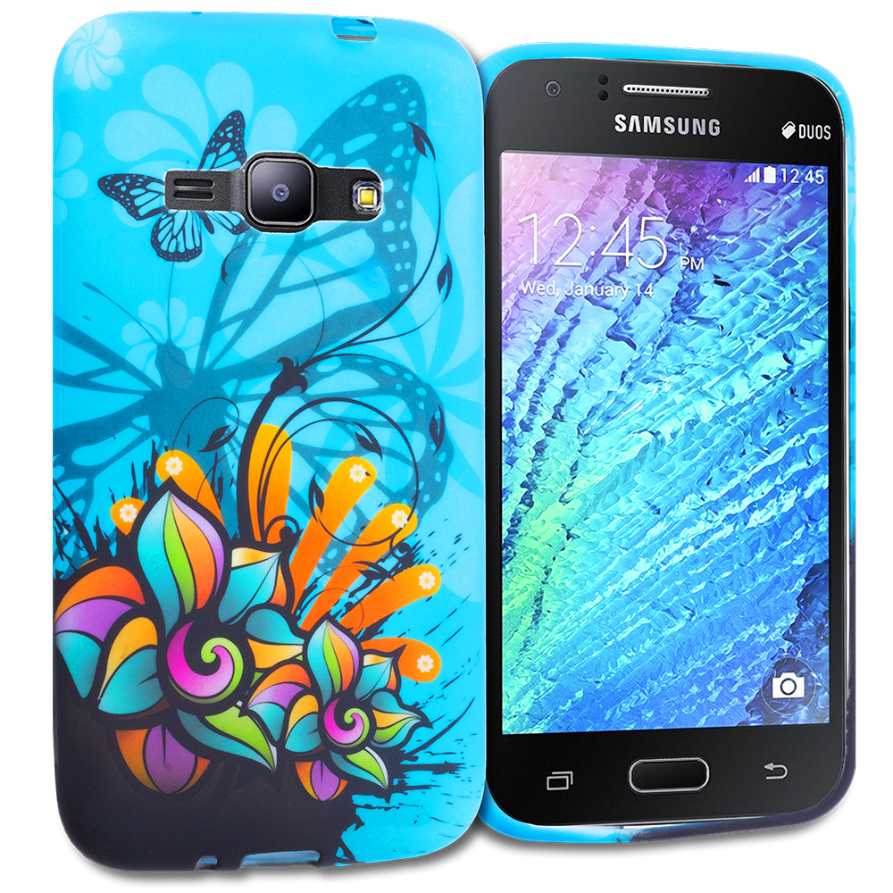 Samsung Galaxy J1 2016 Amp 2 Blue Butterfly Flower TPU Design Soft Rubber Case Cover