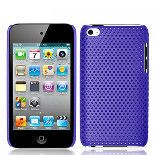 Apple iPod Touch 4th Generation Purple Mesh Hard Rubberized Back Cover Case