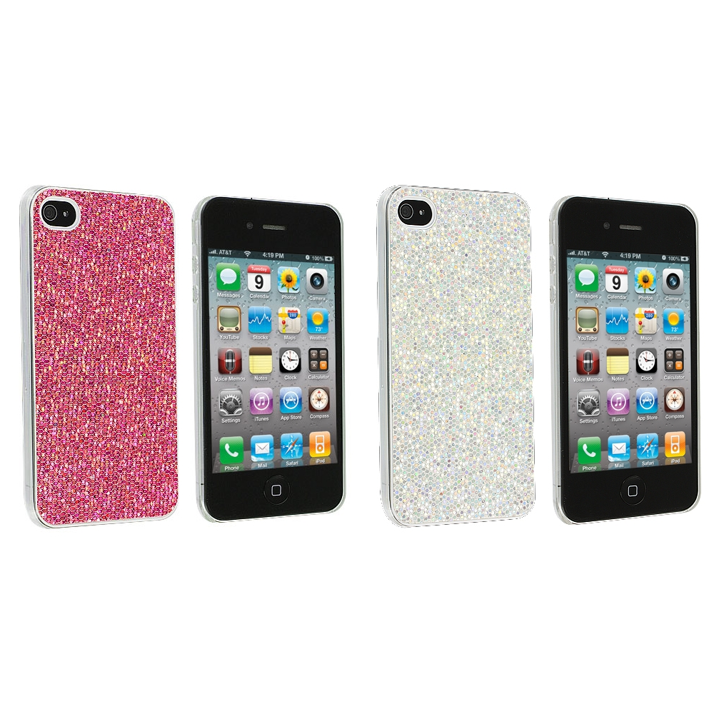 Apple iPhone 4 / 4S 2 in 1 Combo Bundle Pack - Pink Silver Glitter Case Cover