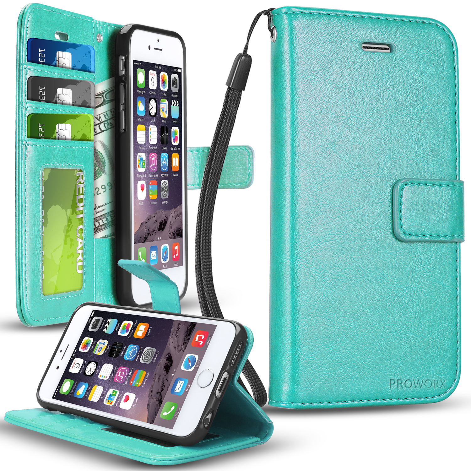 Apple iPhone 6 Plus 6S Plus (5.5) Mint Green ProWorx Wallet Case Luxury PU Leather Case Cover With Card Slots & Stand