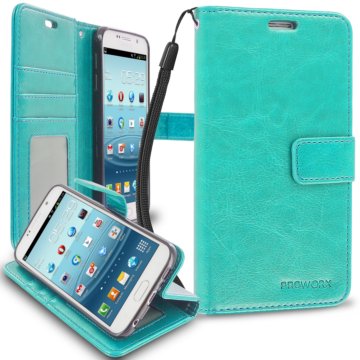 Samsung Galaxy S6 Mint Green ProWorx Wallet Case Luxury PU Leather Case Cover With Card Slots & Stand