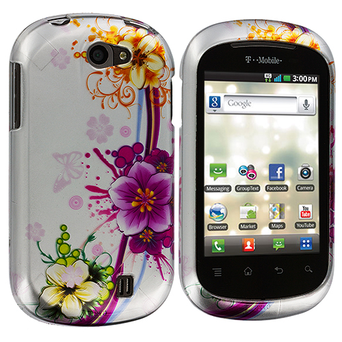 LG DoublePlay C729 / Flip II Purple Flower Chain Design Crystal Hard Case Cover
