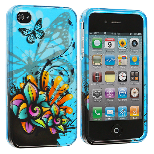 Apple iPhone 4 / 4S Butterfly Flower on Blue Design Crystal Hard Case Cover