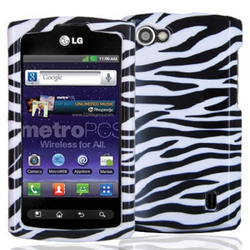 LG Optimus M+ MS695 Black / White Zebra Design Crystal Hard Case Cover