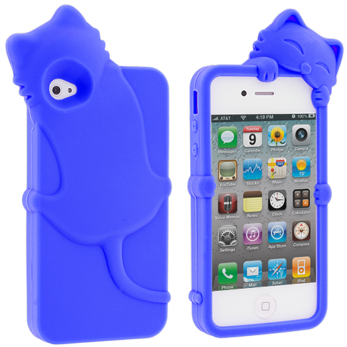 Apple iPhone 4 / 4S Blue Cat Silicone Design Soft Skin Case Cover