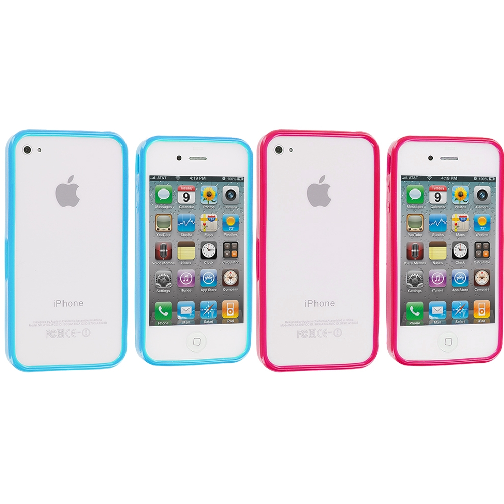 Apple iPhone 4 / 4S 2 in 1 Combo Bundle Pack - Baby Blue Pink Solid TPU Bumper