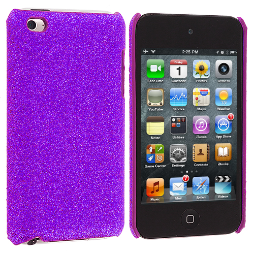 Apple iPod Touch 4th Generation Purple Glitter Case Cover