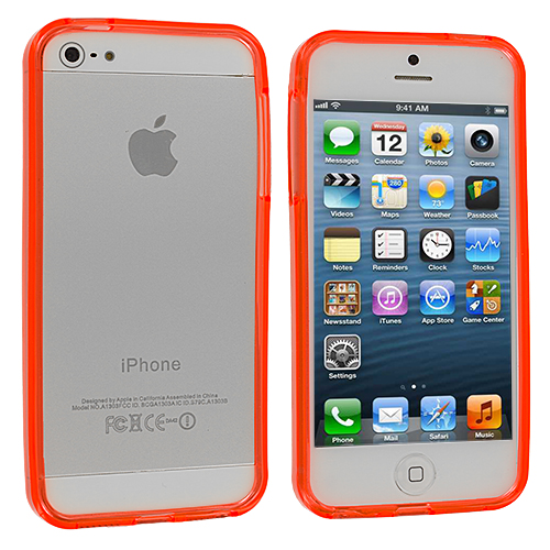 Apple iPhone 5/5S/SE Combo Pack : Red TPU Bumper : Color Orange