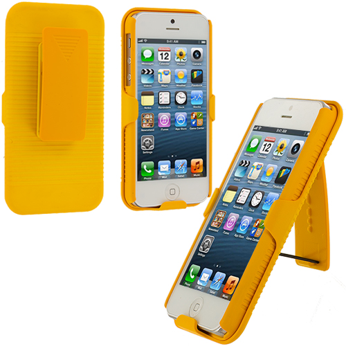 Apple iPhone 5/5S/SE Combo Pack : Black Hard Rubberized Belt Clip Holster Case Cover : Color Yellow
