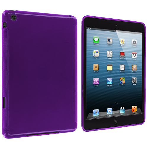 Apple iPad Mini Purple Plain TPU Rubber Skin Case Cover
