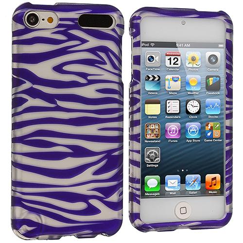 Apple iPod Touch 5th 6th Generation Purple/ White Zebra Hard Rubberized Design Case Cover