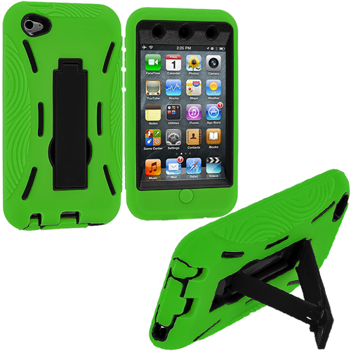 Apple iPod Touch 4th Generation Green / Black Hybrid Heavy Duty Hard/Soft Case Cover with Stand