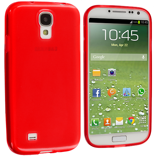 Samsung Galaxy S4 2 in 1 Combo Bundle Pack - Clear Red Plain TPU Rubber Skin Case Cover : Color Red Plain