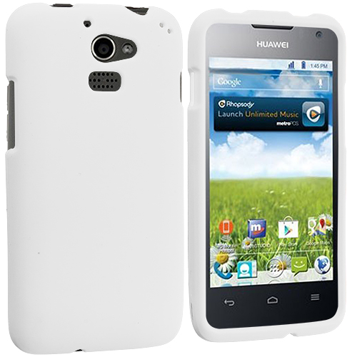 Huawei Premia 4G White Hard Rubberized Case Cover