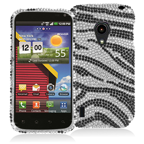 LG Lucid 2 VS870 Black / Silver Zebra Bling Rhinestone Case Cover