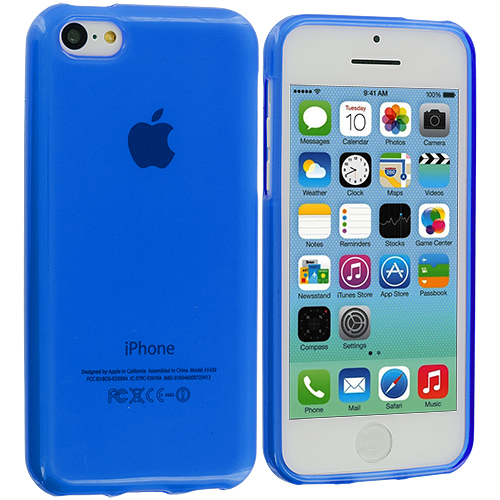Apple iPhone 5C 2 in 1 Combo Bundle Pack - Clear Blue Transparent Crystal Hard Back Cover Case : Color Blue