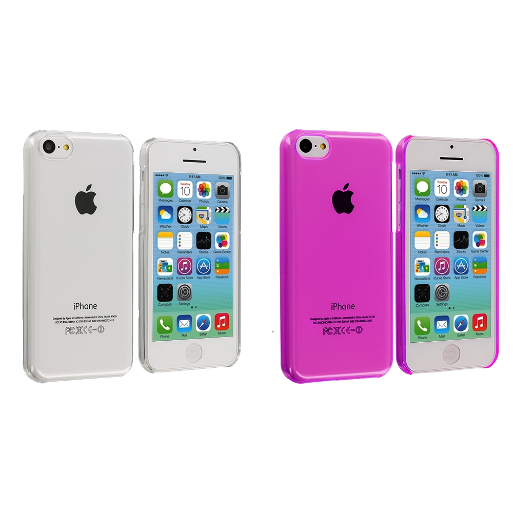 Apple iPhone 5C 2 in 1 Combo Bundle Pack - Clear Transparent Crystal Hard Back Cover Case