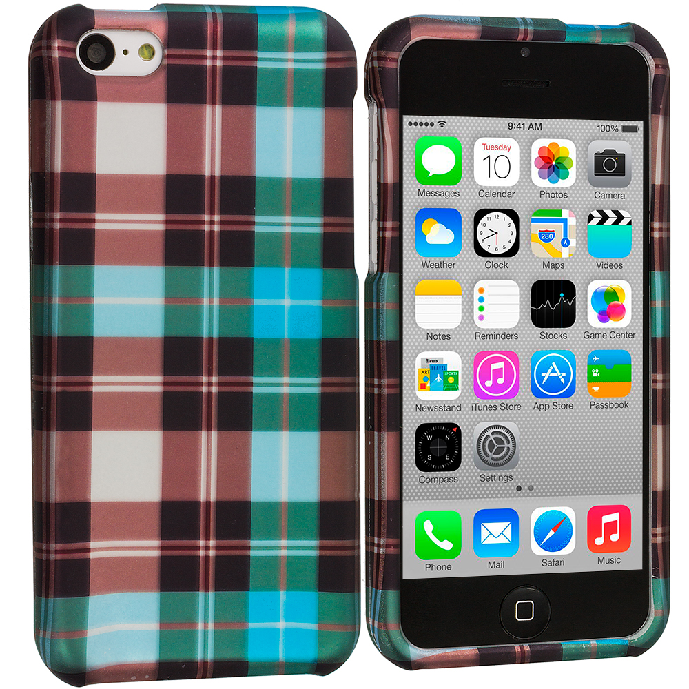 Apple iPhone 5C 2 in 1 Combo Bundle Pack - Blue Pink Checker Hard Rubberized Design Case Cover : Color Blue Checker