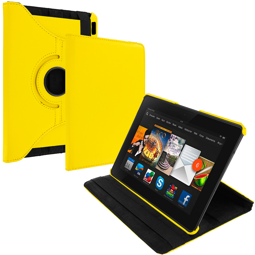 Amazon Kindle Fire HDX 7 Yellow 360 Rotating Leather Pouch Case Cover Stand