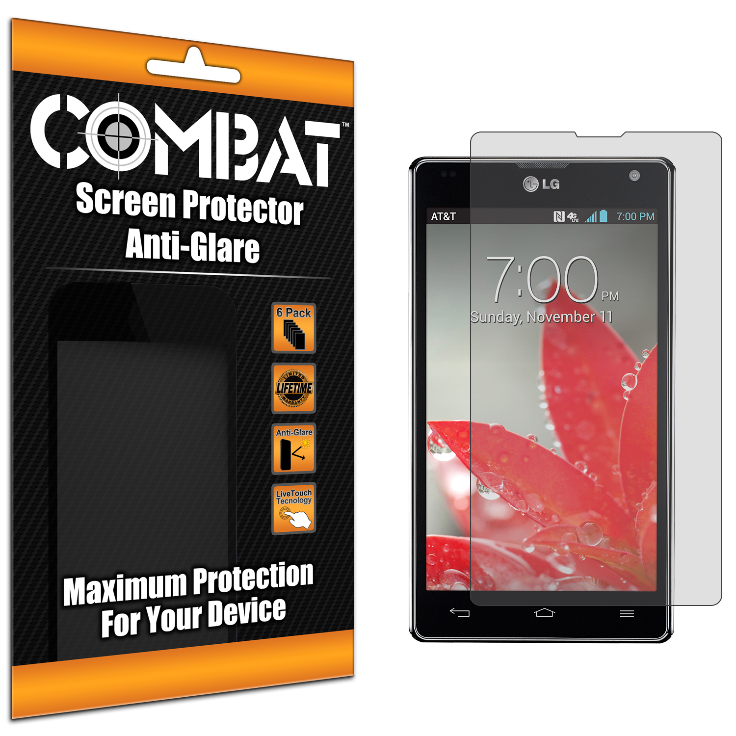 LG Optimus G E970 At&t Combat 6 Pack Anti-Glare Matte Screen Protector