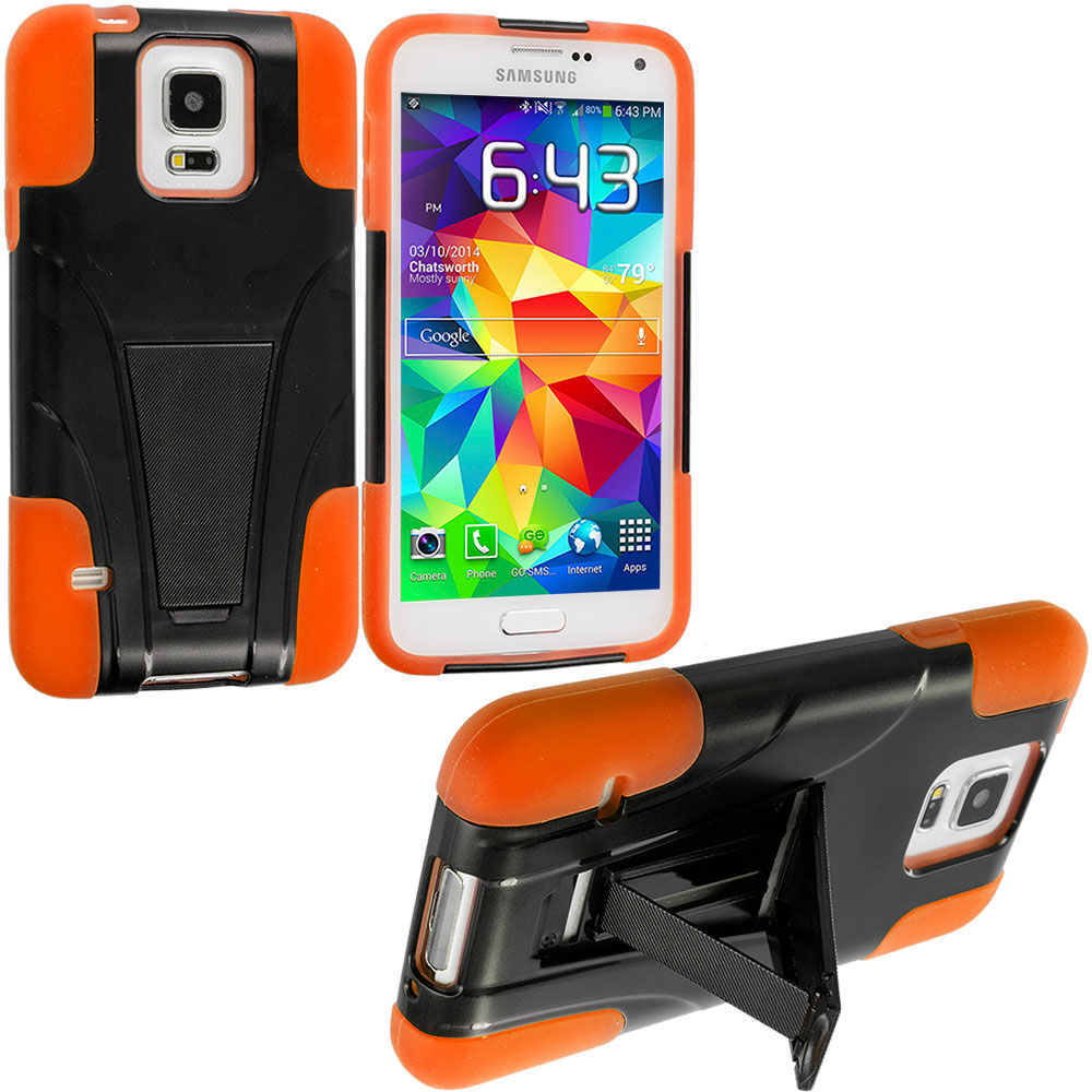 Samsung Galaxy S5 Black / Orange Hybrid Hard/Silicone Case Cover with Stand