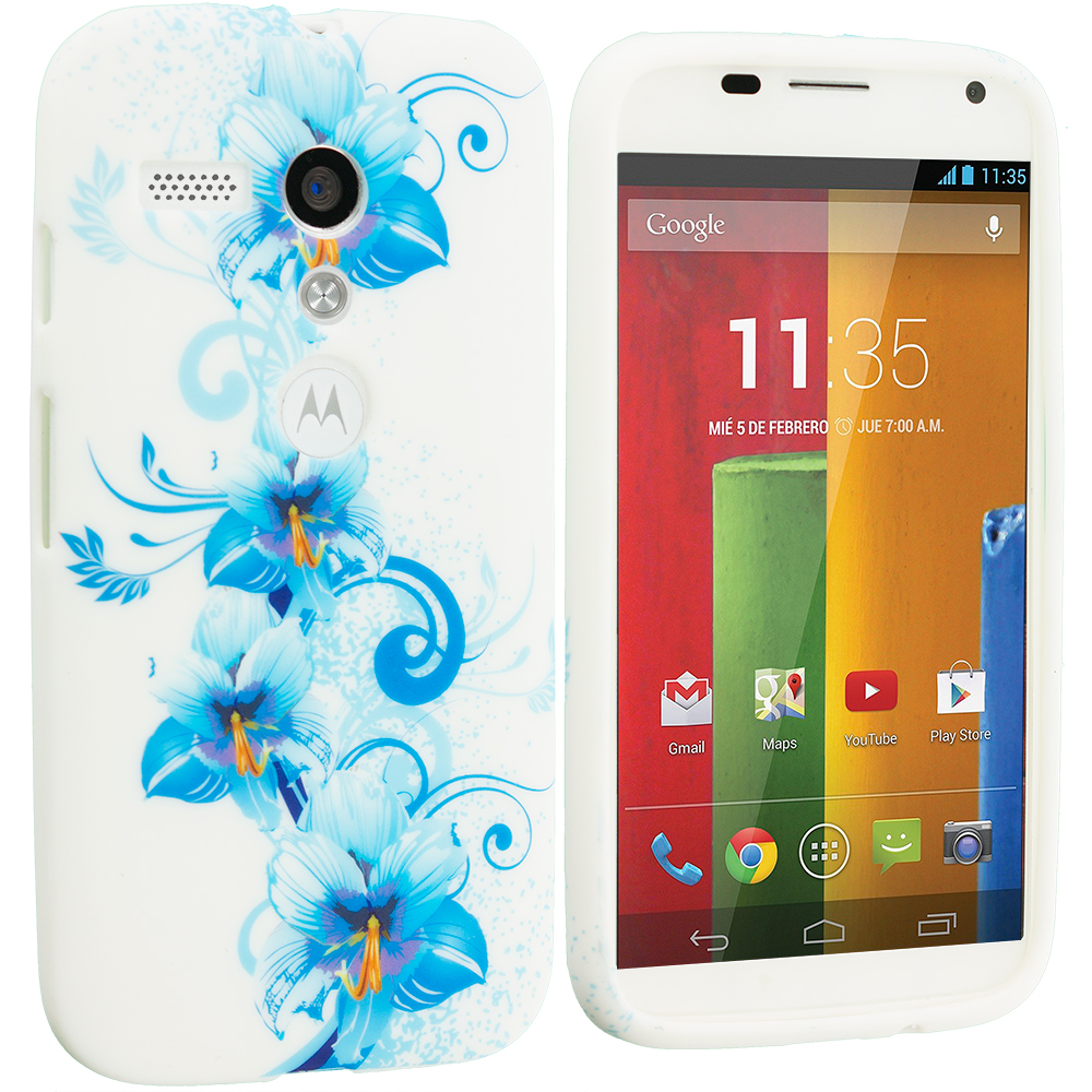 Motorola Moto G Blue White FLower TPU Design Soft Case Cover
