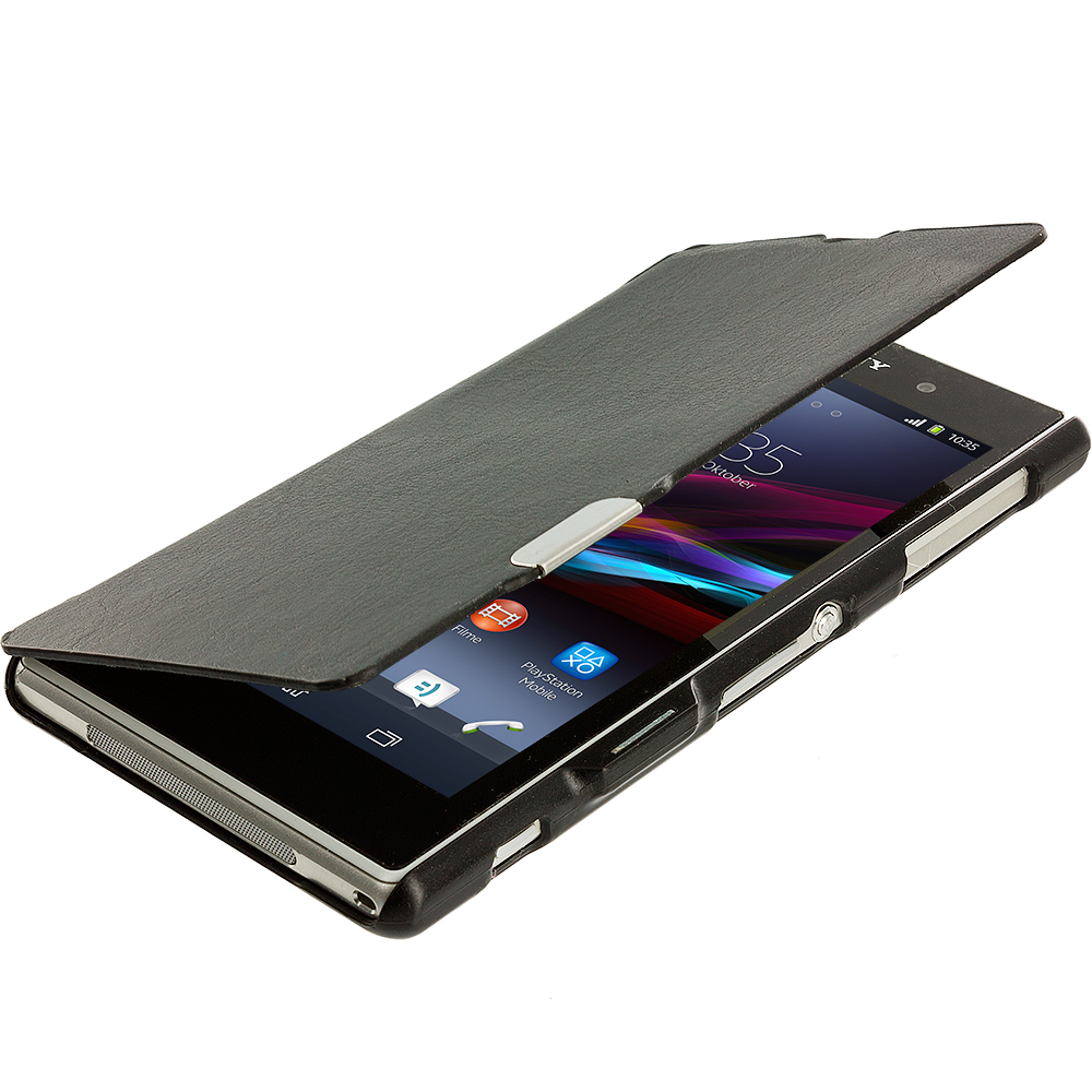 Sony Xperia Z1 Black Magnetic Wallet Case Cover Pouch