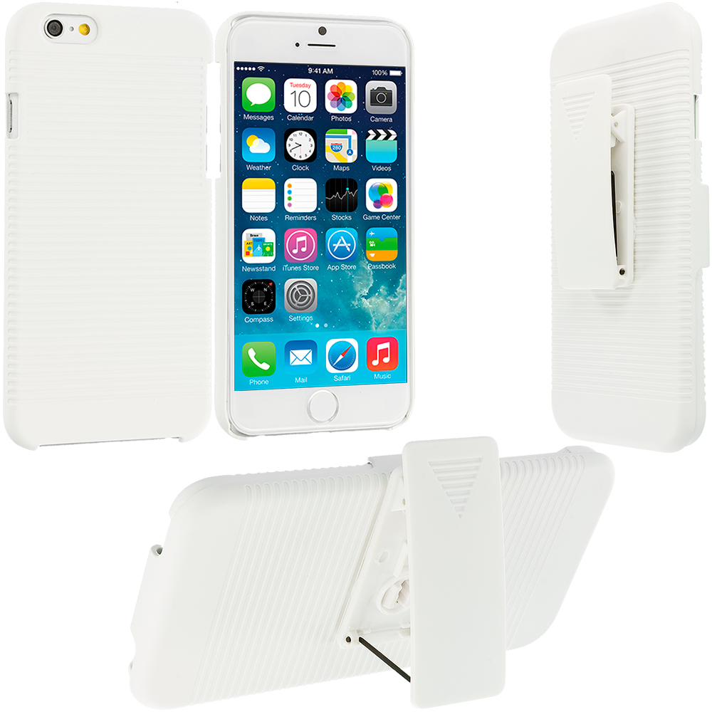 Apple iPhone 6 6S (4.7) White Hard Rubberized Belt Clip Holster Case Cover