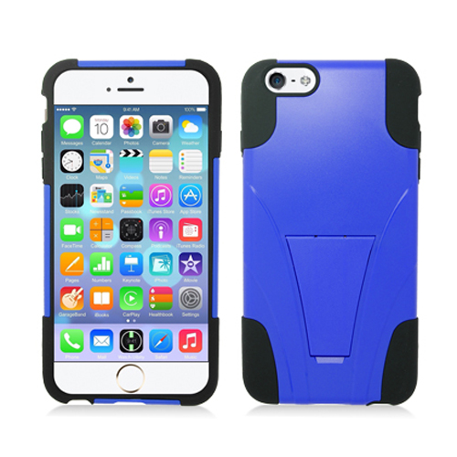 Apple iPhone 6 Plus 6S Plus (5.5) Blue / Black Hybrid Hard/Silicone Case Cover with Stand