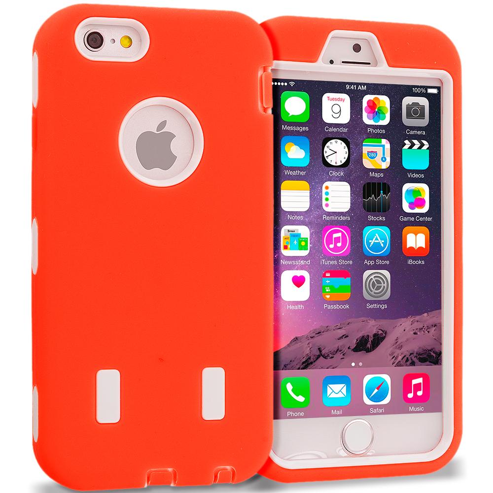 Apple iPhone 6 6S (4.7) Orange / White Hybrid Deluxe Hard/Soft Case Cover