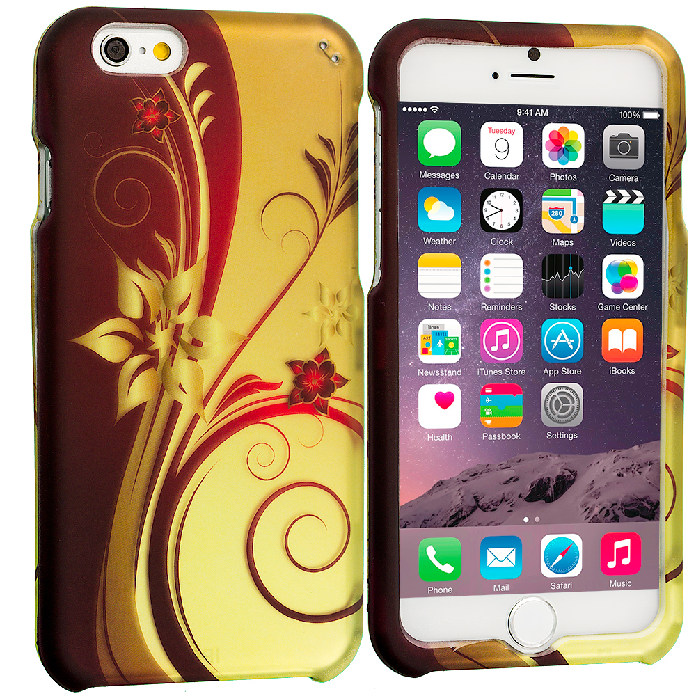 Apple iPhone 6 6S (4.7) Red Golden Flower 2D Hard Rubberized Design Case Cover